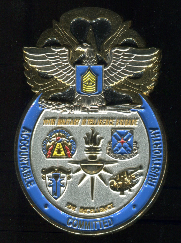 111th Military Intelligence Brigade Coin. Side B pictured.
