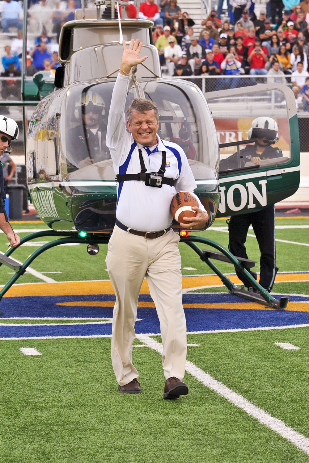 Shannon AirMed 1 flew in Fred Key with the game ball at the First Home Game at 1st Community Field at LeGrand Stadium.