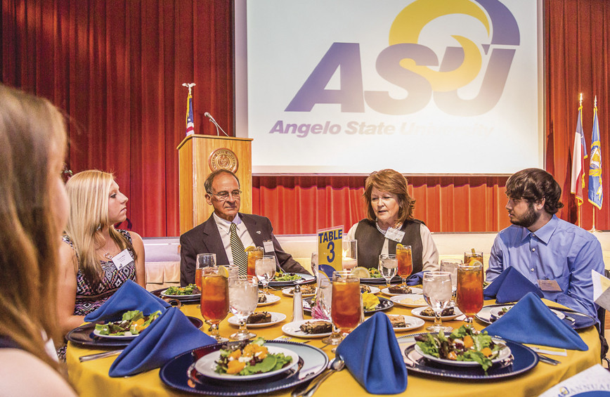 Dr. Robert and Jean Ann LeGrand visit with scholarship recipients during the 2015 ASU Scholarship...