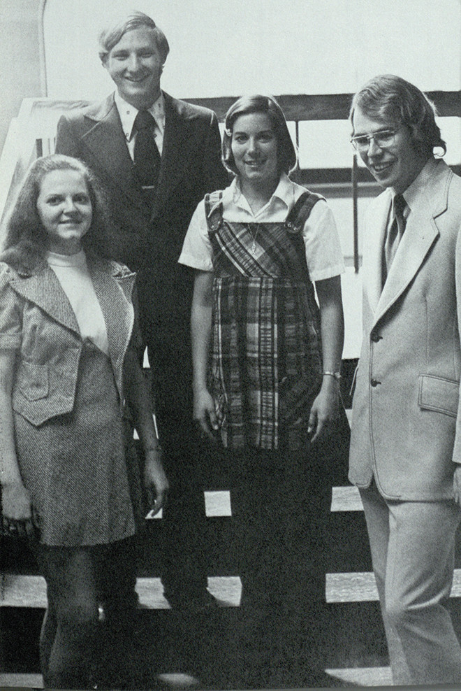 The 1974 yearbook shows Neighbors, Kathy Caswell, Debbie Patterson and Omar Hunter as honorees in Who's Who Among Students...
