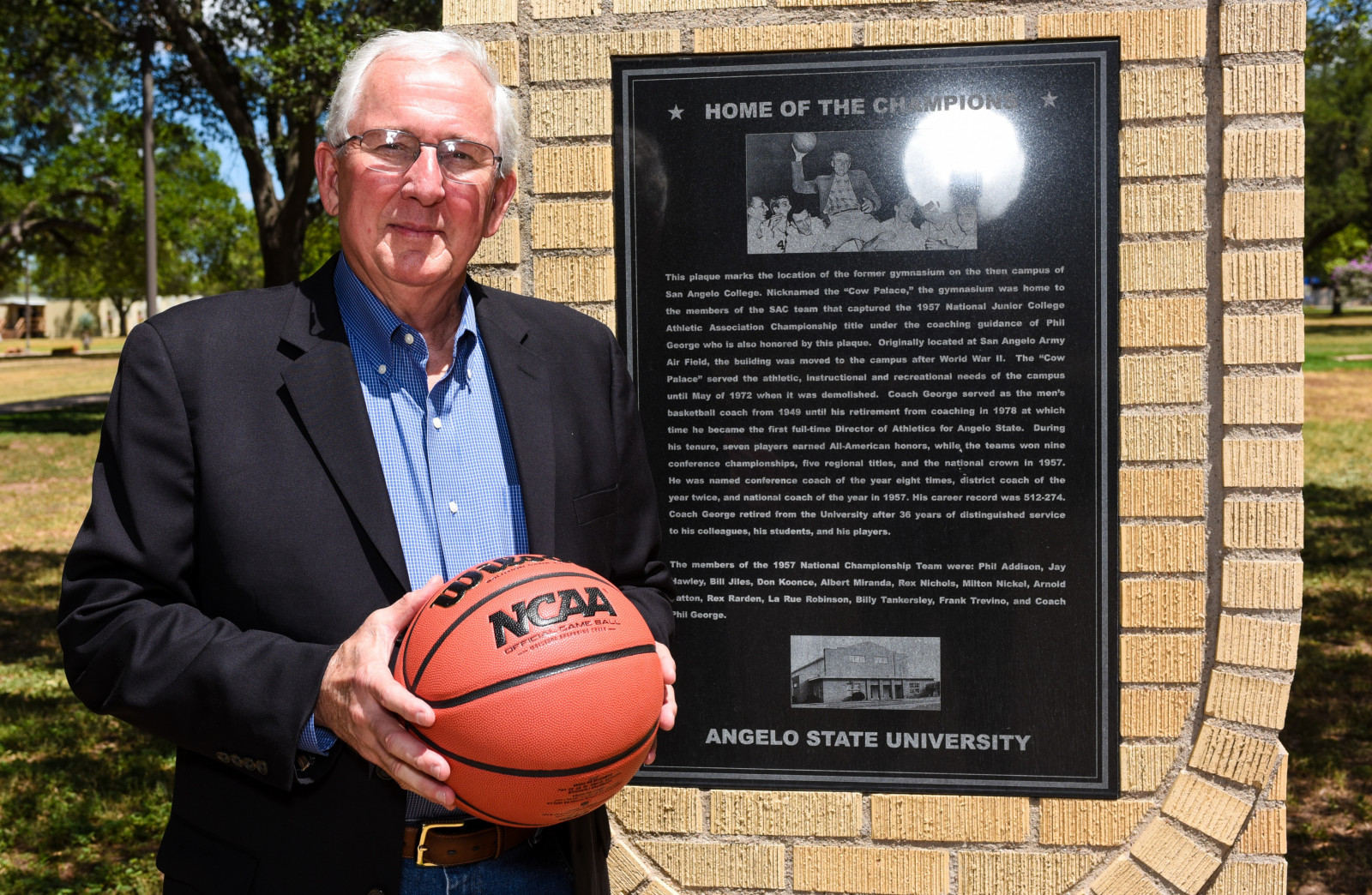 Jim Boles, class of 1967, next to the brick monument which marks the spot of the Cow Palace, the original gymnasium where ...