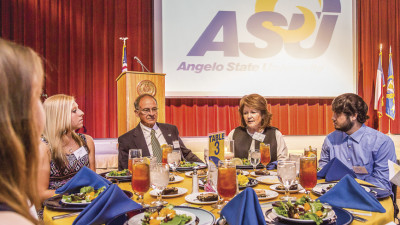 Scholarships a Lesson in Generosity: Dr. Robert and Jean Ann LeGrand visit with scholarship recipients during the 2015 ASU Scholarship Dinner.