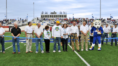 Rams Home Turf: 1st Community Credit Union Field at LeGrand Stadium ribbon cutting precedes the winning football game against Western State.