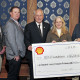 At the check presentation were: (from left) Dr. Cody Scott and Dr. Mike Salisbury, Department of Agriculture; ASU President Brian J. May; Nancy Tootle, Shell Oil; and Dr. James Ward, Department of Physics and Geosciences.
