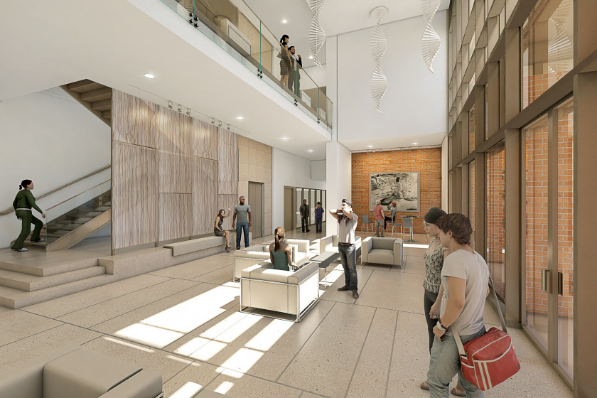 Archer College Lobby architectural rendering.
