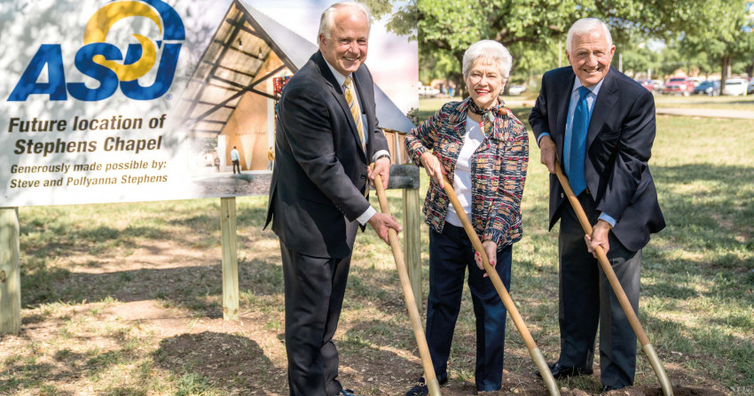 President Brian May and the Stephens at the ground breaking celebration.