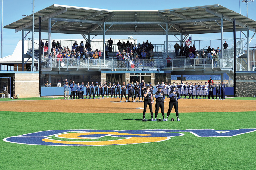With artificial turf and covered stands, Mayer Field allows softball players safer play, conserves water and comfortably seats Rambelles fans.