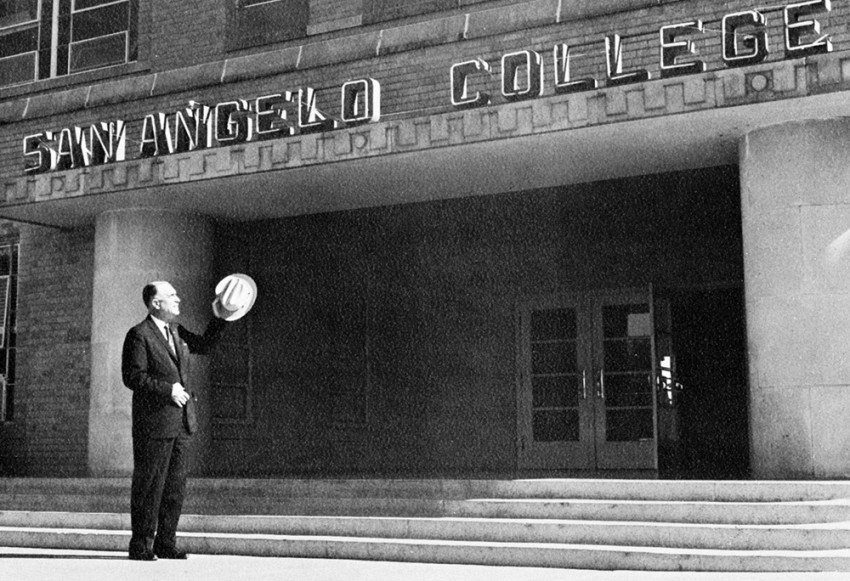 Dr. Raymond M. Cavness bids adieu to San Angelo College in 1965.