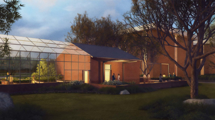 An artist's rendition of the completed greenhouse, courtesy of Kinney Franke Architects AIA.