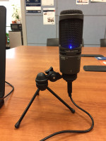 Podcast-style Microphone with Headphones