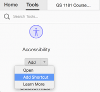 Screenshot that shows how to add the Accessibility shortcut in Adobe Acrobat Pro.
