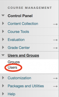 "Screenshot of the ""Users"" link in the Course Management navigation menu."