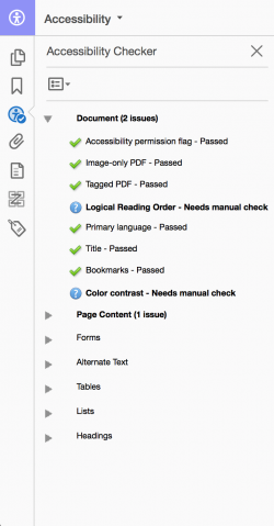 "Screenshot of the ""Full Check"" accessibility report in Adobe Acrobat Pro."