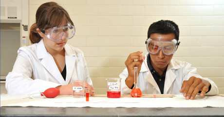 ASU students complete a chemistry lab exercise.