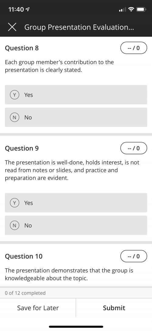 Here's a screenshot of what the group evaluation looked like on a mobile device.