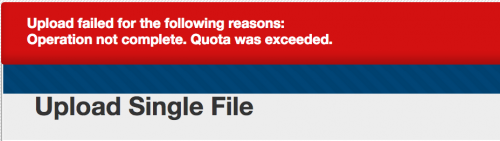 Blackboard error message: Upload failed for the following reasons: Operation not complete. Quota ...