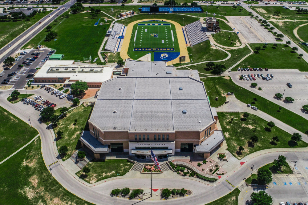 overhead view of Junell Center and football stadium