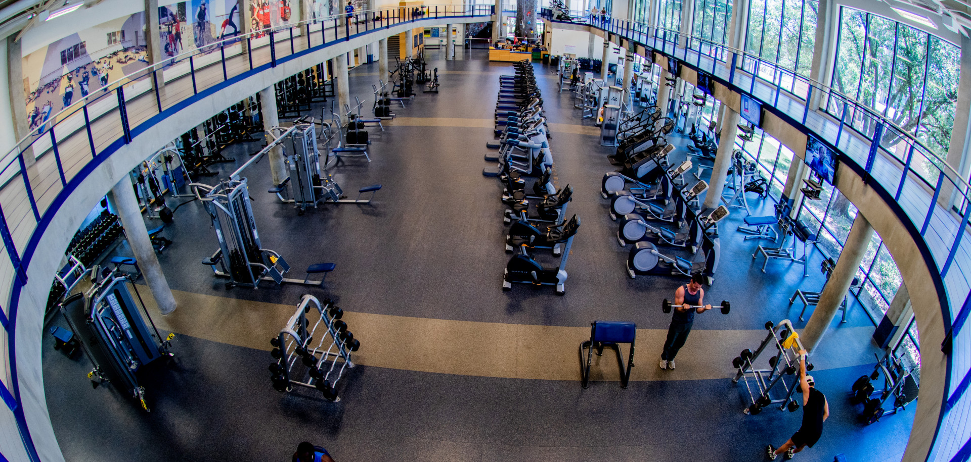 Overhead view of workout area