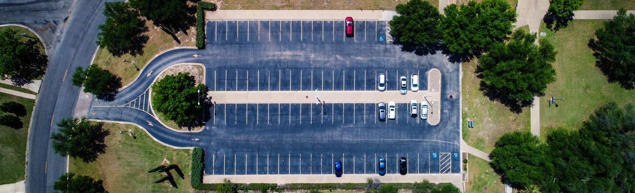 Aerial shot of parking lot