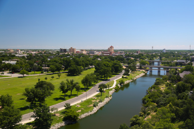 overhead view of the Concho River and City of San Angelo skyline