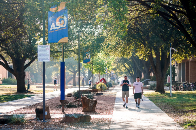 Students walking down the mall