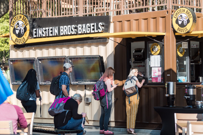 students ordering bagels
