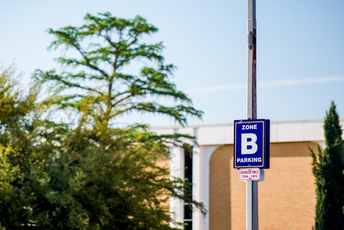Zone B Parking sign