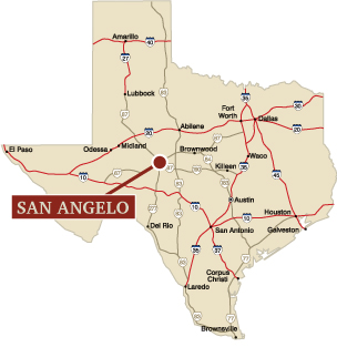 Texas map featuring San Angelo