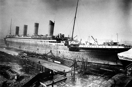 Titanic under construction.