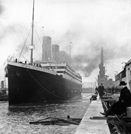 Titanic in the harbor
