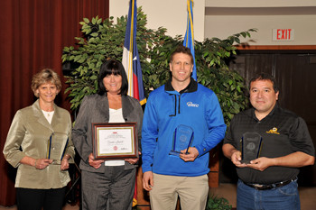 Award Winners Paula Dowler, Brenda Stewart, Jeromey Whitaker and Aaron Carrillo (not pictured: Pauline Balderas)