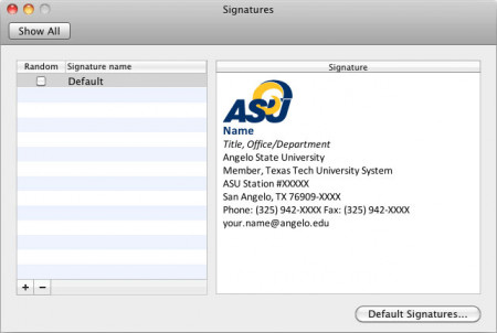 Email Signature window in Outlook for Macintosh