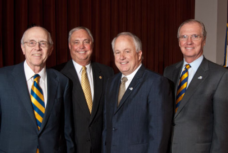 Chancellor Kent Hance, State Rep. Drew Darby, Dr. Brian May and TTUS Board Chairman Jerry Turner at announcement.