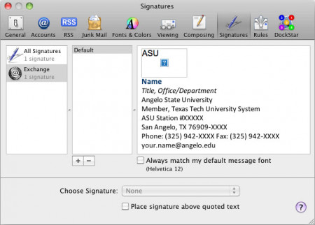 Signature window for Apple Mail