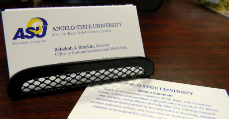 The Office of Communications and Marketing processes all business card requests for Angelo State University.