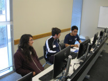 Drew Davis, Ethan Clark and Thai Ly before the 2019 International Collegiate Programming Contest