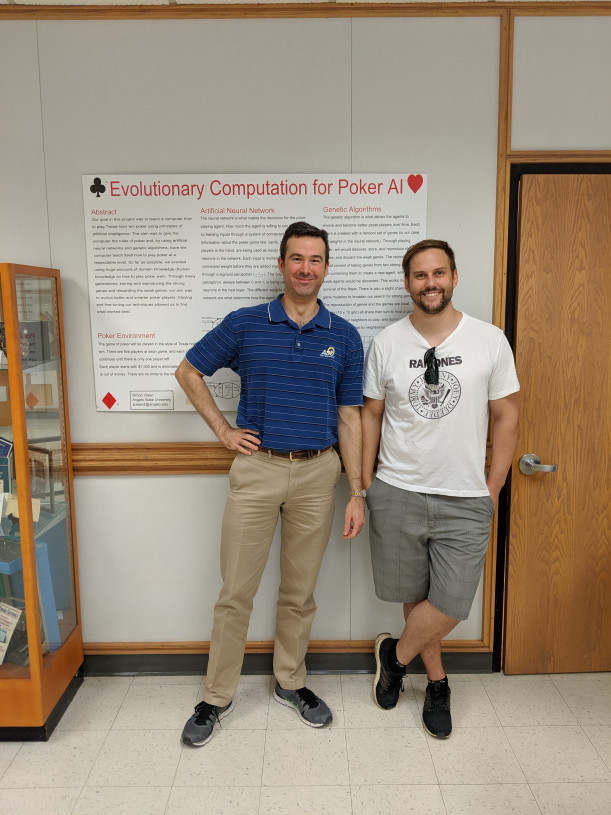 Rob LeGrand and Simon Olsen in 2019 in front of their research poster from 2014
