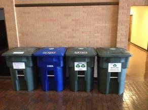 Recycling Bins on campus at Angelo State
