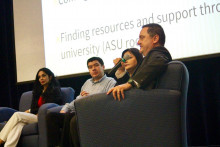 Profs. Madero (Communications), Castaneda (Engineering), Serrano (English & Modern Languages), Klingemann (History) an...