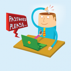 Illustration of a computer asking for a password