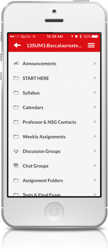 Blackboard Mobile Learn on an iPhone