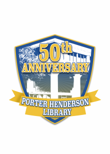 Porter Henderson Library's 50th Anniversary Badge, designed by Amy Rust.