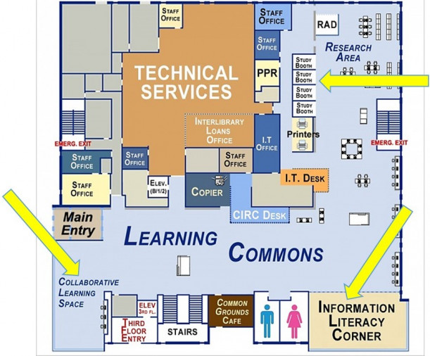 Map of Library First Floor showing Study Areas