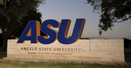 Angelo State University sign