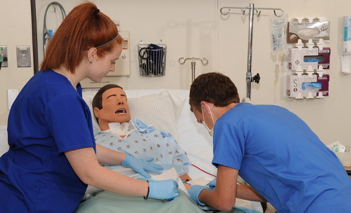Angelo State Nursing Students in the simulation lab.