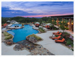 Pool at dusk at luxurious Boot Ranch