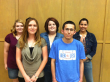Back row: (L-R) Amanda Retikis, Kara Dyson, Norely Perez,  Front row: (L-R) Aundrea Schneebeli and Michael O'Neal
